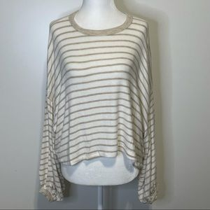 Lulu's Striped Cropped Top White/Camel size XS